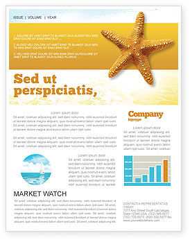 Star Fish Newsletter Template, 02556, Agriculture and Animals — PoweredTemplate.com