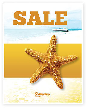 Star Fish Sale Poster Template, 02556, Agriculture and Animals — PoweredTemplate.com