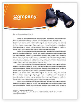 Business: Binoculars Letterhead Template #02558