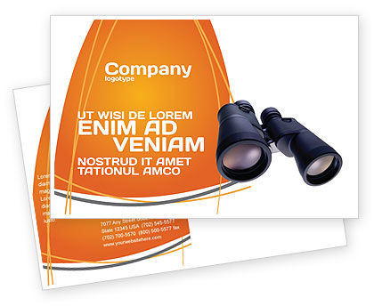Business: Binoculars Postcard Template #02558