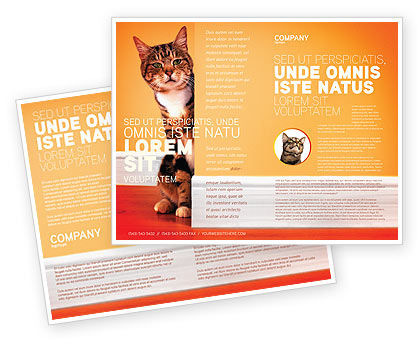 Agriculture and Animals: Curious Cat Brochure Template #02560