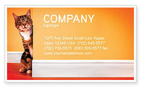 Curious Cat Business Card Template, 02560, Agriculture and Animals — PoweredTemplate.com
