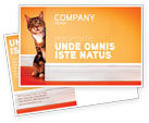 Agriculture and Animals: Curious Cat Postcard Template #02560