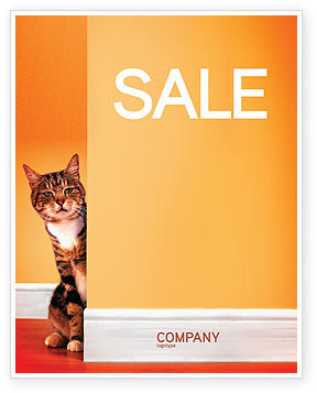 Curious Cat Sale Poster Template