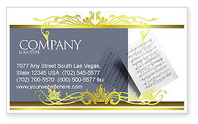 Education & Training: Printed Music Business Card Template #02563