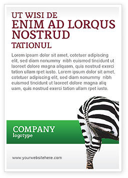 Agriculture and Animals: Zebra Ad Template #02564