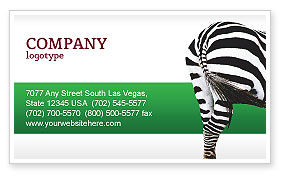 Agriculture and Animals: Zebra Visitekaartje Template #02564