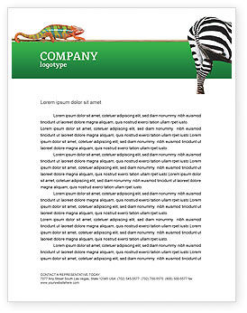 Agriculture and Animals: Zebra Letterhead Template #02564
