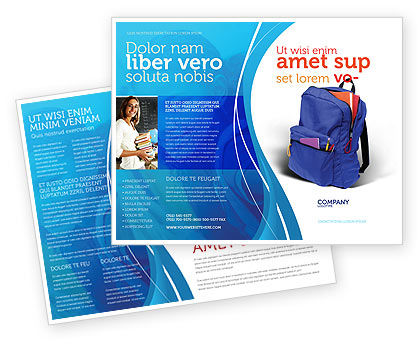 School Backpack Brochure Template Design And Layout, Download Now