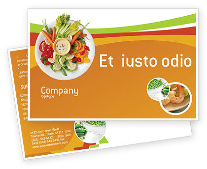 Food & Beverage: Vegetarian Food Postcard Template #02582
