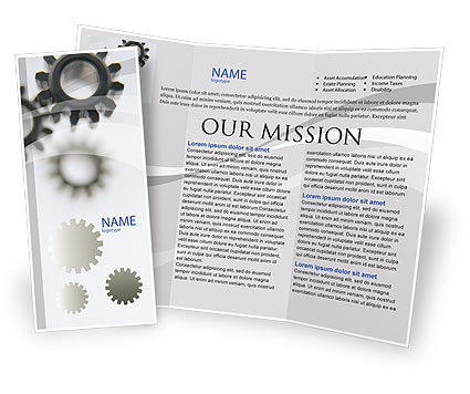 Gears Brochure Template, 02605, Utilities/Industrial — PoweredTemplate.com
