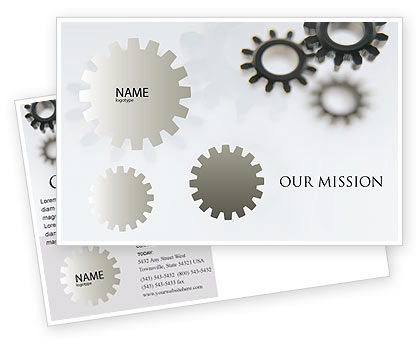 Gears Postcard Template, 02605, Utilities/Industrial — PoweredTemplate.com