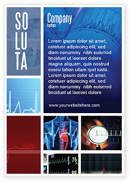 Medical: Ecg In Blauw Advertentie Template #02617