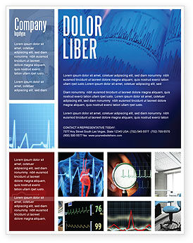 ECG in Blue Flyer Template, 02617, Medical — PoweredTemplate.com