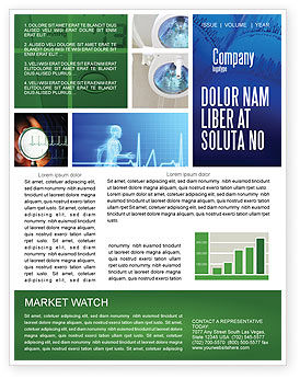 Medical: ECG in Blue Newsletter Template #02617