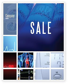 Medical: ECG in Blue Sale Poster Template #02617