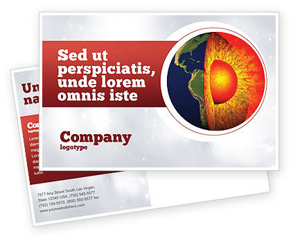 Earth Core Postcard Template, 02665, Technology, Science & Computers — PoweredTemplate.com