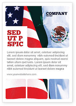 Flags/International: Mexico En De Verenigde Staten Advertentie Template #02668