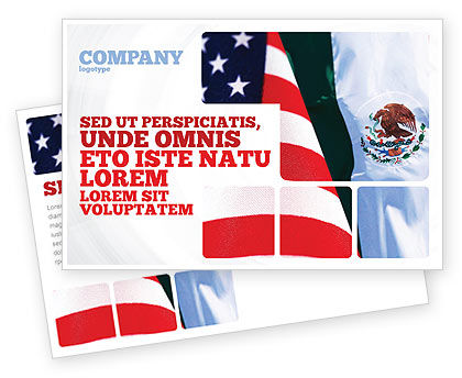 Flags/International: Mexico and USA Postcard Template #02668