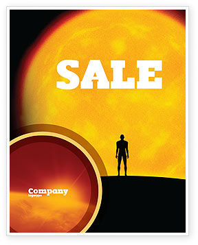 Human and Space Sale Poster Template, 02671, Technology, Science & Computers — PoweredTemplate.com