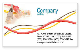 Telecommunication: Ethernet Patch Cord Business Card Template #02692