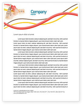 Telecommunication: Ethernet Patch Cord Letterhead Template #02692