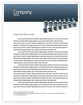 Utilities/Industrial: Screw-Nut and Bolt Letterhead Template #02703