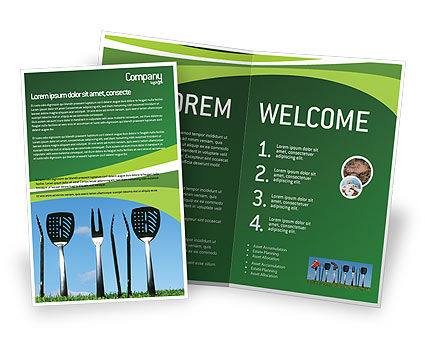 BBQ And Grill Tools Brochure Template, 02709, Food & Beverage — PoweredTemplate.com