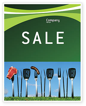 Food & Beverage: BBQ And Grill Tools Sale Poster Template #02709