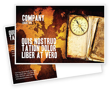 Old Compass Postcard Template, 02716, Global — PoweredTemplate.com