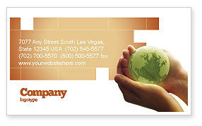 Global: World in Hands Business Card Template #02727