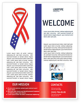 Patriot Ribbon Flyer Template, 02739, Holiday/Special Occasion — PoweredTemplate.com
