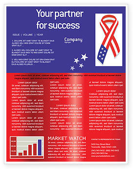 Patriot Ribbon Newsletter Template, 02739, Holiday/Special Occasion — PoweredTemplate.com
