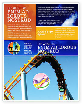 Roller Coaster Flyer Template, 02740, Art & Entertainment — PoweredTemplate.com