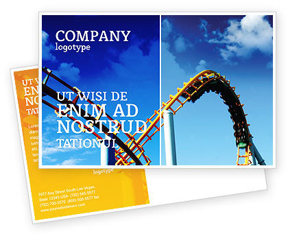 Art & Entertainment: Roller Coaster Postcard Template #02740