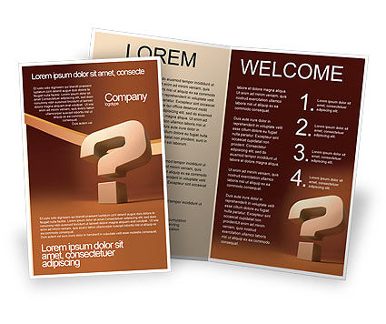 Question Mark In 3D Brochure Template, 02749, Consulting — PoweredTemplate.com