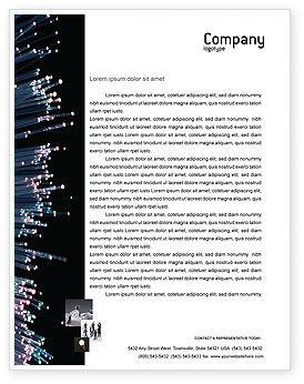 Telecommunication: 光ファイバー - レターヘッドテンプレート #02753