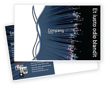 Telecommunication: Optic Fiber Postcard Template #02753