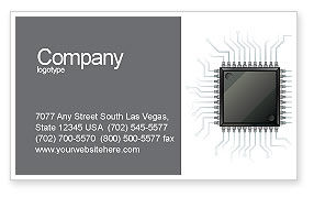 Microchip In Gray Colors Business Card Template, 02782, Technology, Science & Computers — PoweredTemplate.com