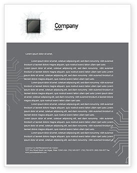 Technology, Science & Computers: Microchip In Gray Colors Letterhead Template #02782