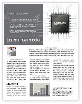 Technology, Science & Computers: Microchip In Gray Colors Newsletter Template #02782