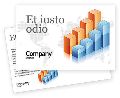 Business: Graphs Postcard Template #02792