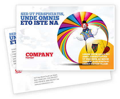 Clown Postcard Template, 02801, Holiday/Special Occasion — PoweredTemplate.com