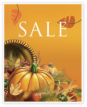 Holiday/Special Occasion: Thanksgiving Day Sale Poster Template #02819