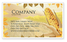 Agriculture and Animals: Free Corn Thanksgiving Business Card Template #02821