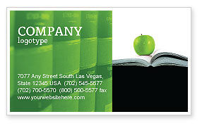 Book And Apple Business Card Template, 02824, Education & Training — PoweredTemplate.com
