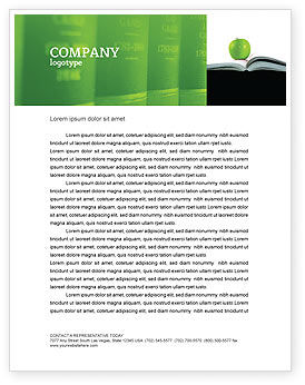 Book And Apple Letterhead Template, 02824, Education & Training — PoweredTemplate.com