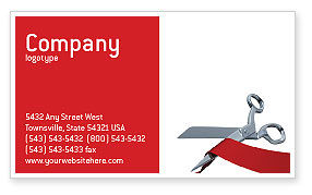 Holiday/Special Occasion: Cutting Red Tape Business Card Template #02829