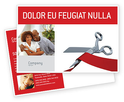 Holiday/Special Occasion: Cutting Red Tape Postcard Template #02829