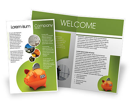 Piggy bank brochure template design and layout download for Free product brochure template